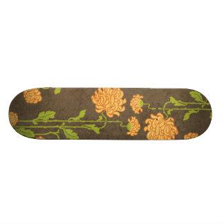 6184_floral-orange-green-brown RETRO FLOWERS VINES Skateboards