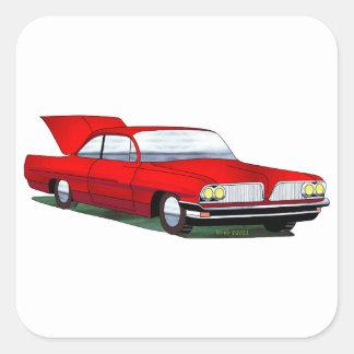 61 Pontiac 2 Door Hardtop Square Sticker