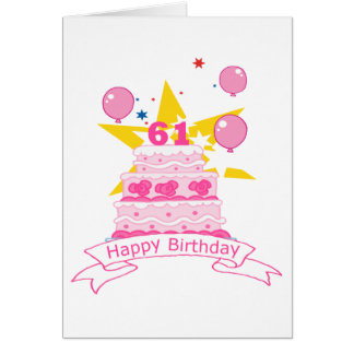 61 Year Old Birthday Cake Greeting Card