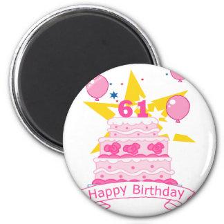 61 Year Old Birthday Cake 6 Cm Round Magnet