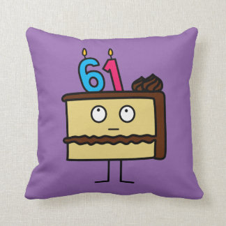 61st Birthday Cake with Candles Cushion