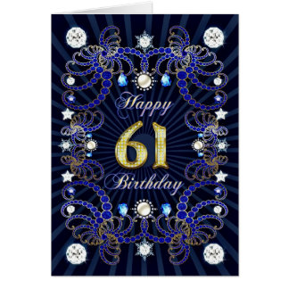 61st birthday card with masses of jewels
