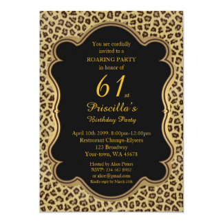 61st,Birthday Party 61st,Cheetah, Black & Gold Card