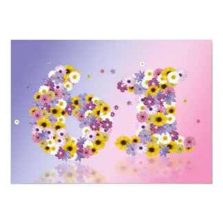 """61st Birthday party, with flowered letters 5"""" X 7"""" Invitation Card"""