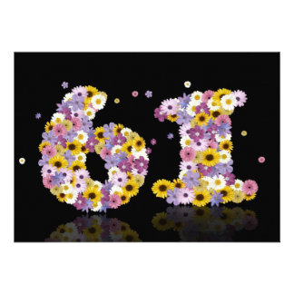 61st Birthday party with flowered letters Announcements