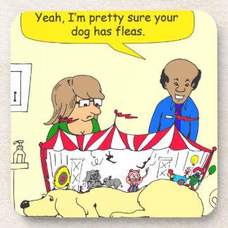 626 dog has fleas cartoon coasters