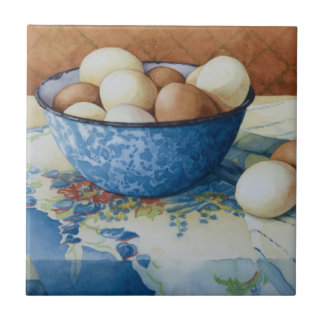6293 Eggs in Enamelware Bowl Small Square Tile