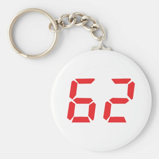 62 sixty-two red alarm clock digital number key