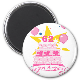 62 Year Old Birthday Cake 6 Cm Round Magnet