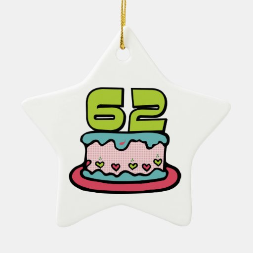 62 Year Old Birthday Cake Ceramic Star Decoration