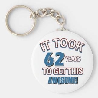 62 year old birthday designs keychains