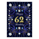 62nd birthday card with masses of jewels