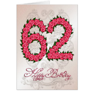 62nd birthday card with roses and leaves