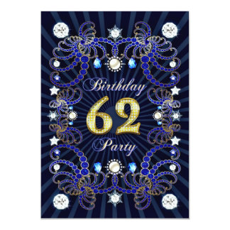 62nd birthday party invite with masses of jewels