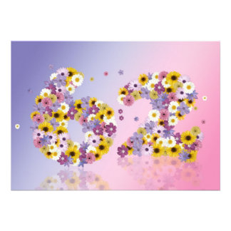 62nd Birthday party, with flowered letters Personalized Invites