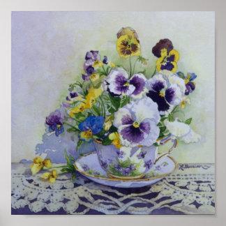 6300 Pansies in Teacup Art Print