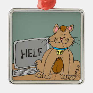 631 computer mouse help cartoon Silver-Colored square decoration