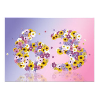 63rd Birthday party, with flowered letters Invite
