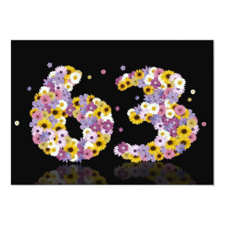63rd Birthday party, with flowered letters Personalized Invite