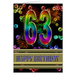 63rd Birthday with rainbow bubbles and fireworks