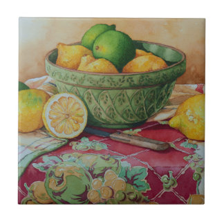 6468 Lemons and LInes in Green Bowl Small Square Tile