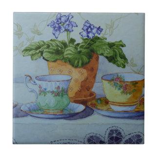 6470 African Violet and Teacups Tile