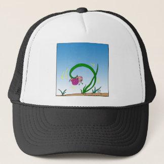 647 upside down snail cartoon trucker hat
