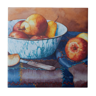 6497 Pears and Applies in Enamelware Bowl Tile