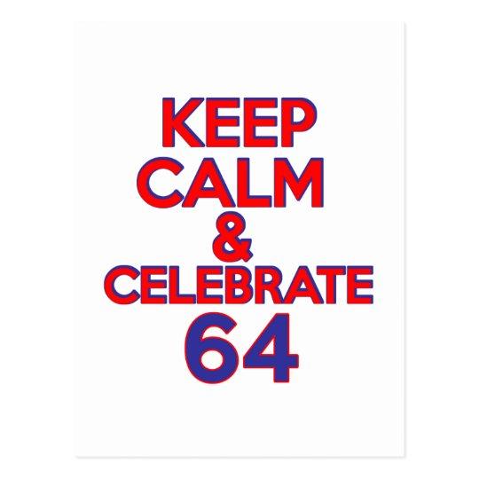64 Birthday Design Postcard