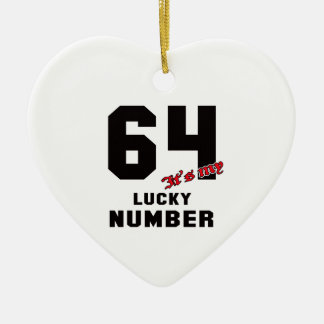 64 It's my lucky number Ceramic Heart Decoration