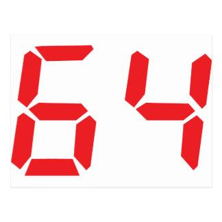 64 sixty-four red alarm clock digital number postcard