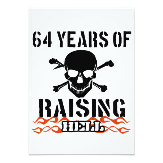 64 years of raising hell 13 cm x 18 cm invitation card