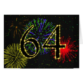 64th Birthday card with fireworks