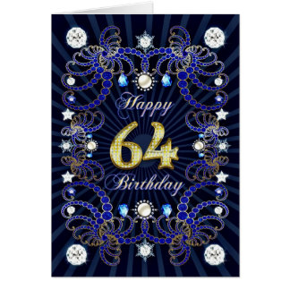 64th birthday card with masses of jewels
