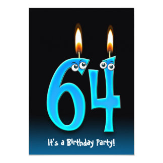 64th Birthday Party 13 Cm X 18 Cm Invitation Card