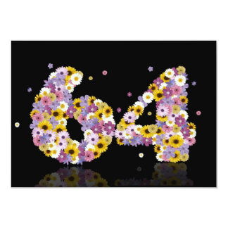 64th Birthday party, with flowered letters 13 Cm X 18 Cm Invitation Card
