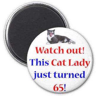 65 Cat Lady 6 Cm Round Magnet