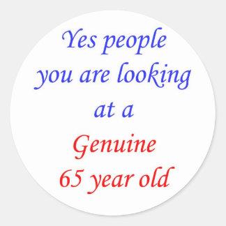 65 Genuine 65 Year Old Round Stickers