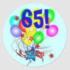 65! Or Any Age Birthday Balloons Round Stickers