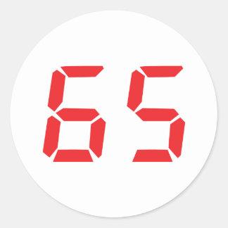 65 sixty-five red alarm clock digital number round sticker