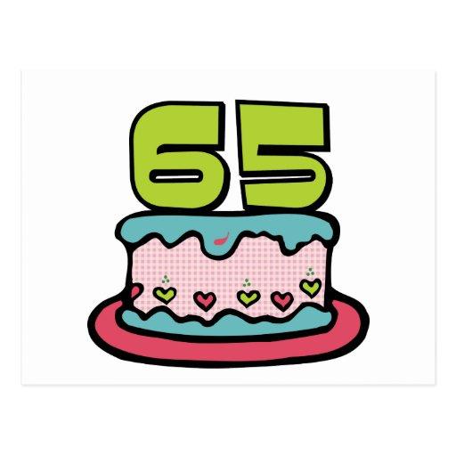 65 Year Old Birthday Cake Postcard