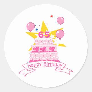 65 Year Old Birthday Cake Round Sticker