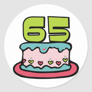 65 Year Old Birthday Cake Round Sticker