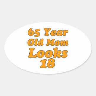 65 year old birthday design oval sticker