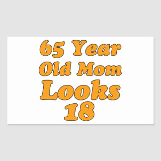 65 year old birthday design rectangle stickers