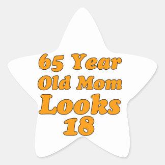 65 year old birthday design star sticker