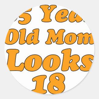 65 year old birthday design classic round sticker