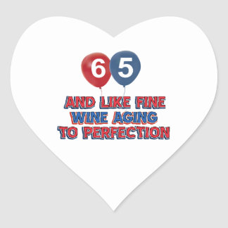 65 year old birthday gifts heart sticker