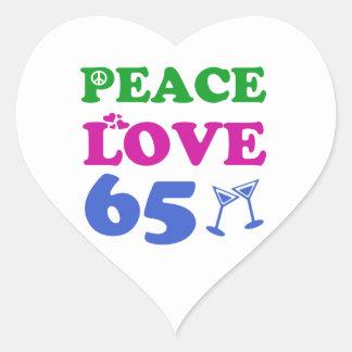 65 year old design heart sticker