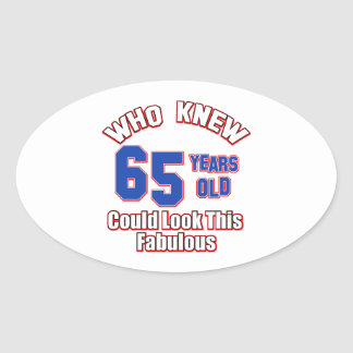 65 year old design oval sticker